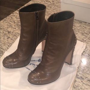 Brown Prada Ankle Boots, size 40